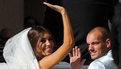 Уэсли Снейдера и жена. Свадебное фото.